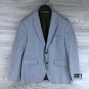 Louis Raphael Blue Linen Slim Fit Blazer
